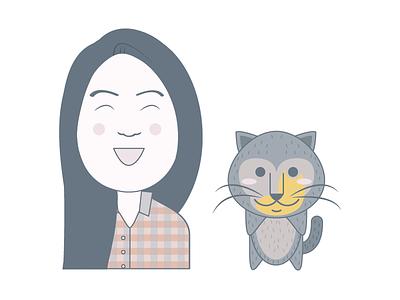 Avatar Selfie illustration character person cat vector avatar