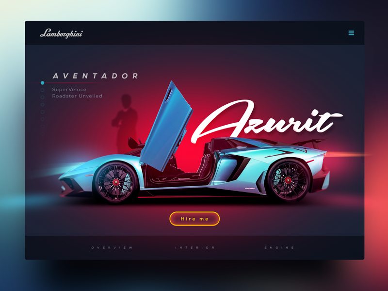 Aventador web concept inspiration supersport lamborghini aventador car concept design webdesign ui website ux