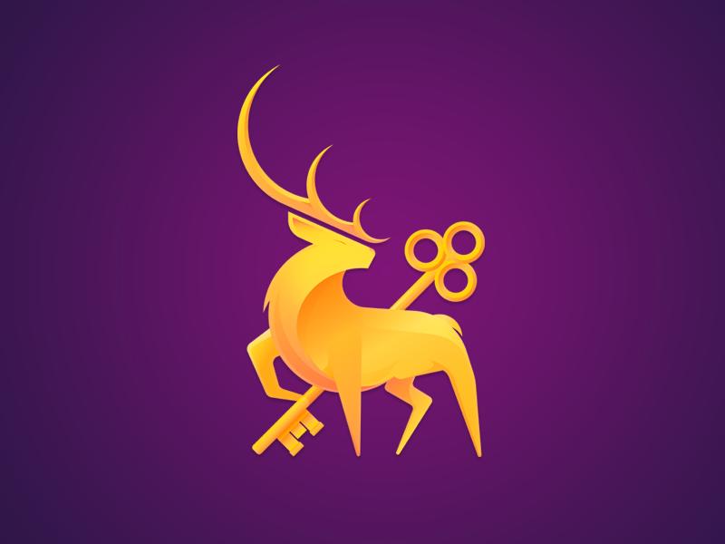 Gold Deer Logo inspiration key animal art animal purple logo 3d logo deer