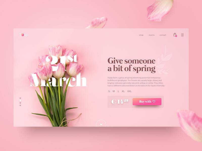 A bit of spring minimalism tulips tulip pink spring flowers flower shop detail inspiration web concept website webdesign ux ui design