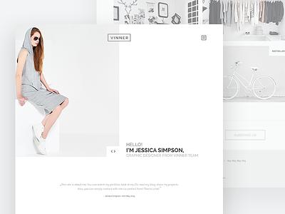 Vinner - Creative & Modern Multi-Purpose Template modern hair long simple clean white bike clothes fashion glasses gray grey
