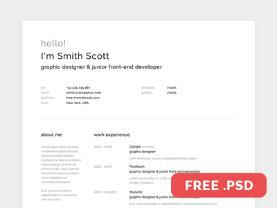 Free Resume Template white vitae resume modern freebie free for free designer design cv curriculum clean
