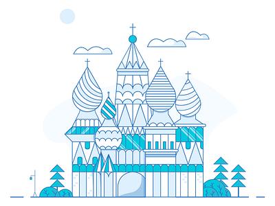 Russian Church Illustration perfection free building vector white blue ui design clean illustration church