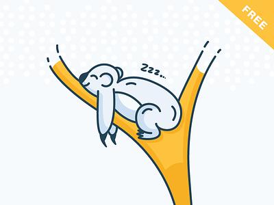 Sleepy Koala download free ai filled illustration outline tree jungle koala sleepy animal