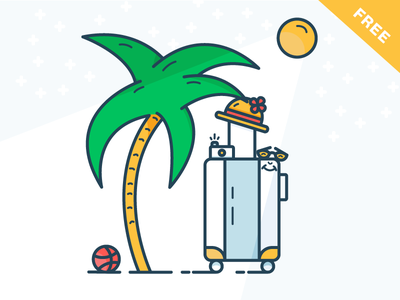 Time for holiday! outline illustration free filled download holiday ai sun dribbble ball baggage palm