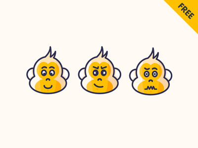 Monkey emotions monkey emotion outline clean illustration free filled download animal ai fear happy