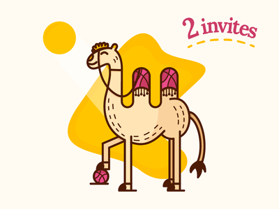 2 Invites from happy Camel! download ai outline free sun clean drawing illustration camel new invitation invites