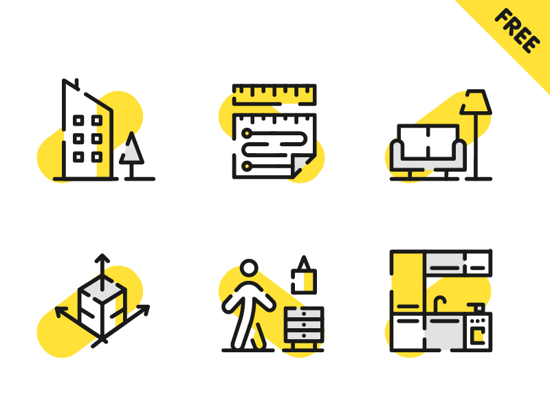 Free Architecture Icons pixel perfect people lamp sofa building outline illustration free filled download clean