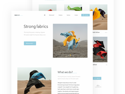 Fabric Landing Page page landing graphics web material fabric white design ux free clean ui