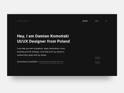 Portfolio Redesign hire design ux typography white ui ui8 redesign concept redesign. komonski minimal clean black redesign portfolio