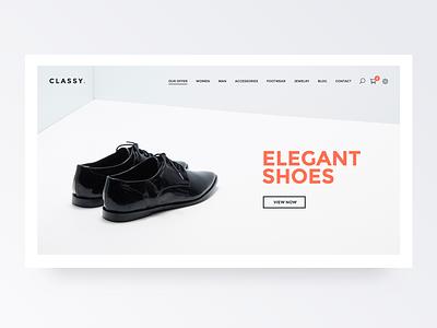 Classy - Prestashop Template white typography design icon app web flat type website ux ui minimal shoes elegant shop design shop app ecommerce store shop clean