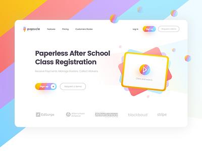 Popsicle concept sharp class school video landing design app typography pattern design landing colorful colors palette pattern colors ux ui design white clean