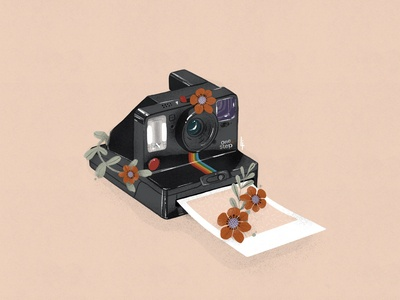 Polaroid love light design digital drawing free-hand instant photography illustrator textures flowers illustration photography photocamera polaroid procreate drawing illustration