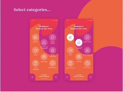 Customer Loyalty App. Select Categories