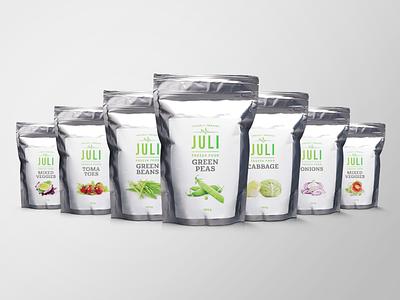 Juli Frozen Veggies - Packaging Design onions tomatoes silver foil bag logotype logo natural fresh handmade