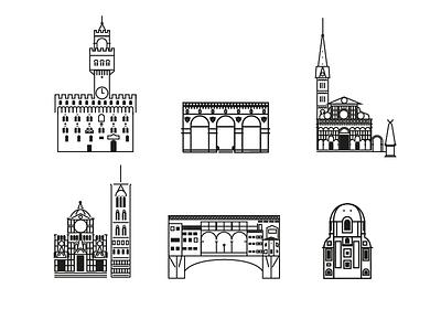 Icons for Firenze brdge duomo outline landmark illustration icon line art city italy florence