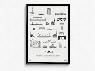 Firenze Icons Print illustration bridge building iconography icons icon made in italy italy florence print wallpaper