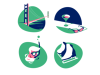 Travel app icons set