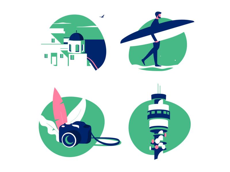 Travel app icons set 2