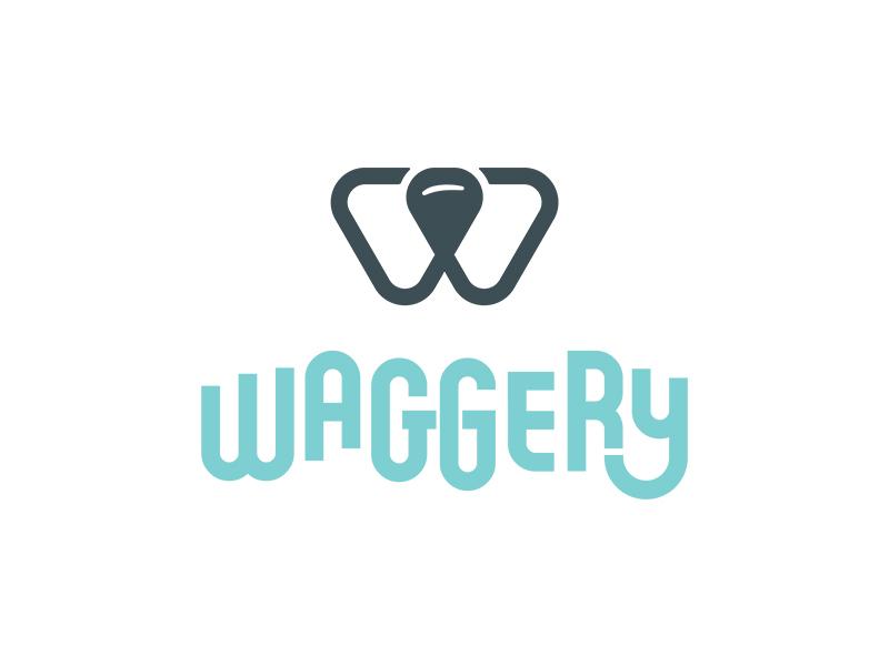 Waggery Logo simple retro w brand wag logo nose dog