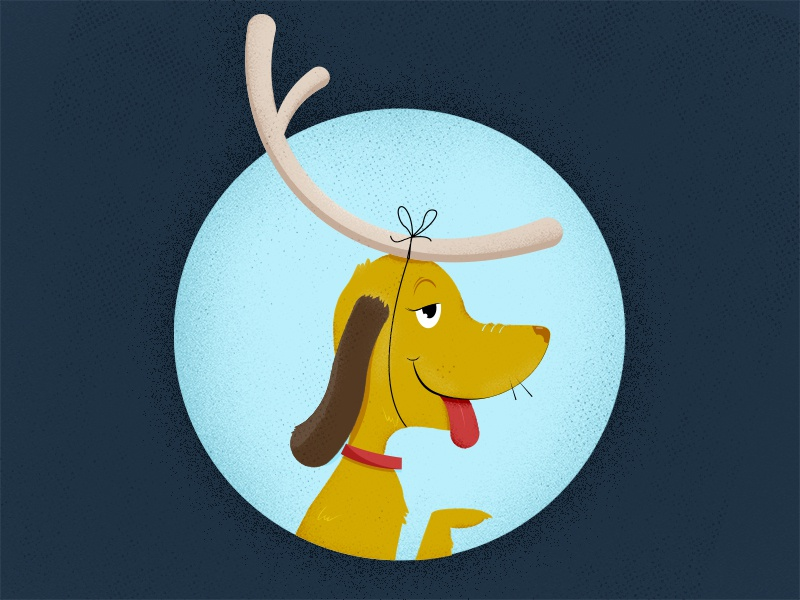 Max happy halftone illustrator illustration reindeer fan art grinch christmas dog