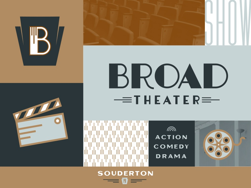 Broad Theater Brand keystone theater branding 1950s 50s lettering theater art deco brand logo