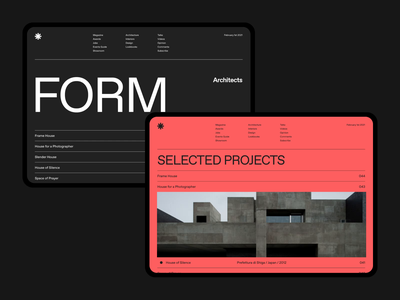 FORM Architects Exploration color typogaphy architect layout webdesign web clean minimalist design