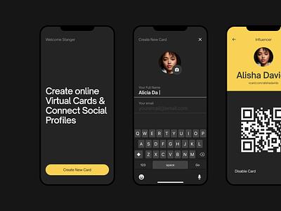IOS app work in progress card vcard ios app clean minimalist design