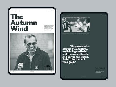 Oakland Raiders Article pt1 webdesign typography website sports bio history ipad editiorial article raiders football nfl layout web clean minimalist design ui