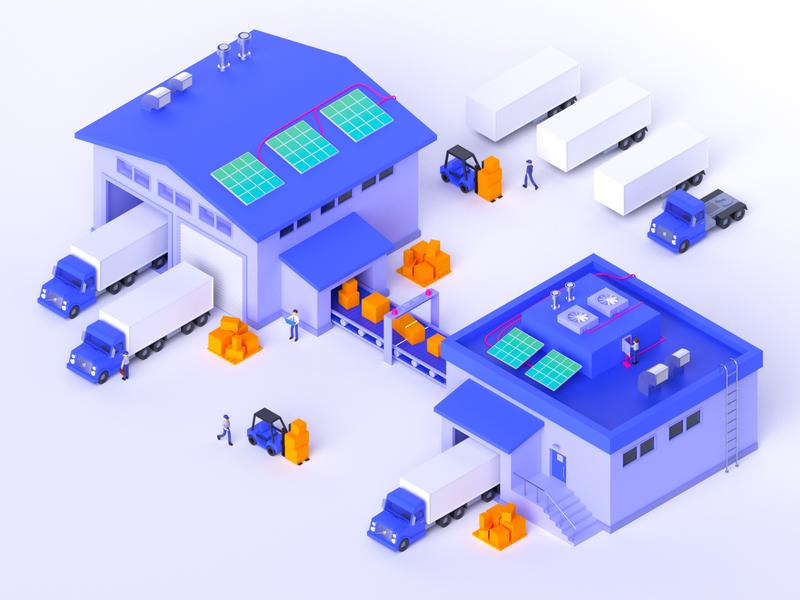 Isometric warehouse cargo post warehouse isometric design cinema 4d cinema4d render illustration c4d 3d