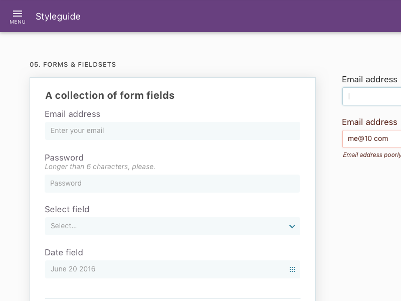 Style guide interface style guide forms ui ux