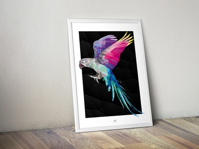 Macaw Print colourful poster print polygons triangles illustration parrot macaw