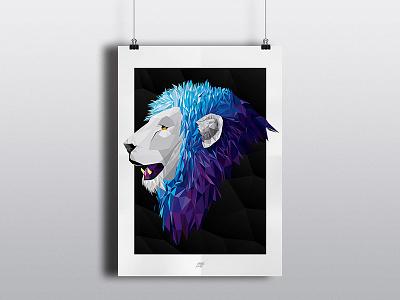 Lion Illustration Poster print poster colourful digital polygons triangles illustration lion