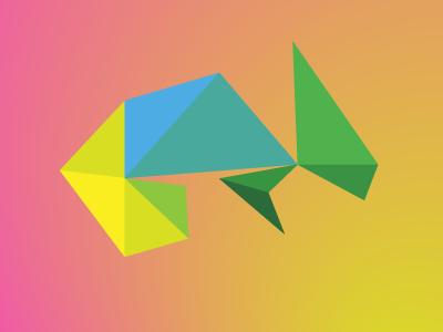 Chameleon v2 / 10 triangles challenge triangles polygons illustration graphic chameleon challenge