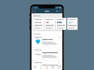Job Search App UI Concept service application app branding mobile app user interface list mobile graduate iphone x search job search concept app ux  ui