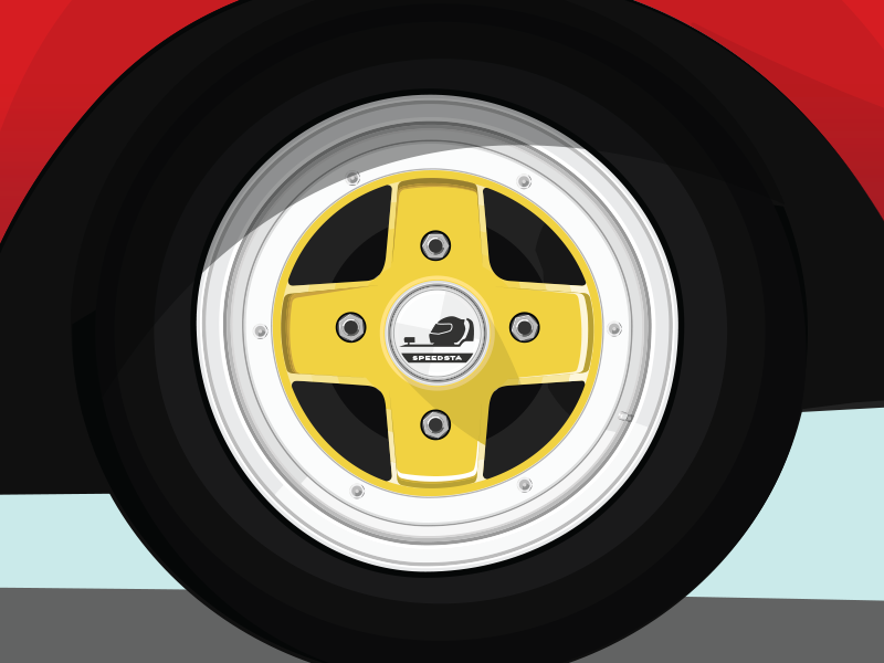Vintage Racing Rim flat illustration mkii ssr celica toyota automotive car wheel rim