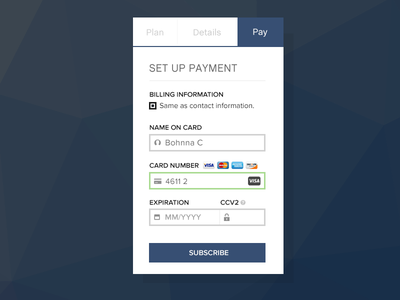 Credit Card Payment Form for Subscription Service application mobile credit card ui interface dailyui