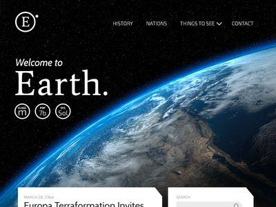 Earth's Landing Page star trek landing page earth dailyui
