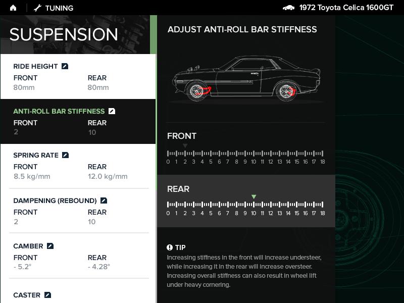 Settings UI celica video game suspension tuning racing settings dailyui