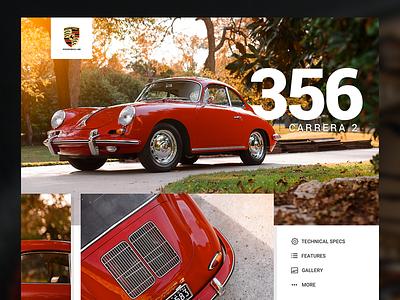 Porsche 356 Landing Page Concept 356 porsche web interface ui