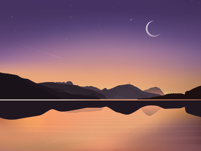 Oh shit, gradient meshes mountain nature moon space landscape illustration