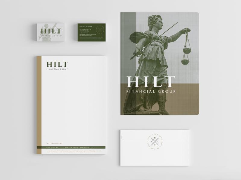 Hilt brand corpID mockup badge lady justice sword corporate identity branding logo
