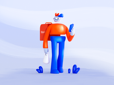 Delivery boy in the city orange rappi walk walking food delivery courier boy 3d illustration delivery