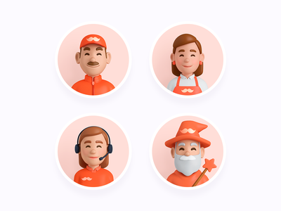 Rappi avatars rappi people avatars orange characters app shopper support delivery man wizard magician