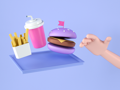 Food on the air soda french fries drop purple junk food toys burger