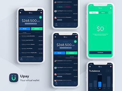 Upay App - Dark theme transaction finance chart app money dark theme pay icons wallet