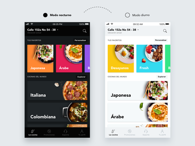 Night / Day mode - Food Delivery App ios day night cuisine delivery food discover app