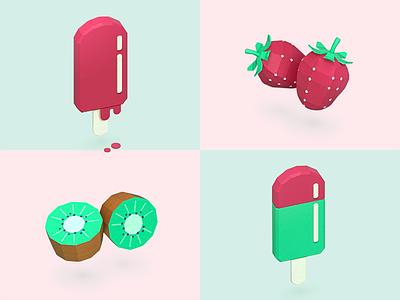 Paper fruits sweet flavors colors 3d paper