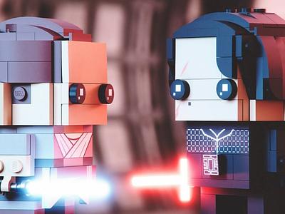 Kylo Ren & Rey design 3d render cgi kylo ren rey blender star wars lego