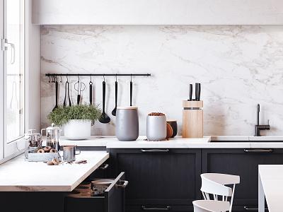 Black and White kitchen b3d cyclesrender cycles archviz  interior interior architecture interior design archviz interior blender3d design